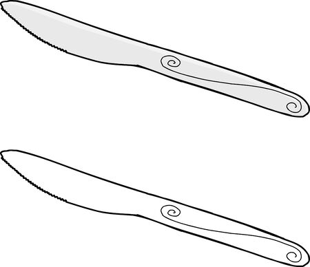 Hand drawn dining knife over isolated background 向量圖像