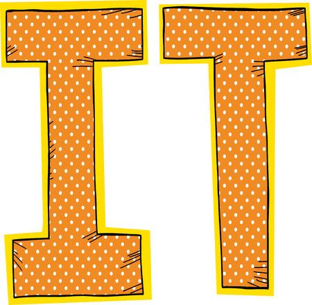 オレンジとハーフトーン パターン文字の中私と T
