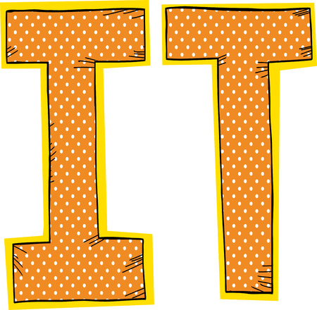 Orange with halftone pattern inside letters I and T