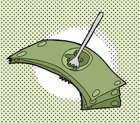 Symbolic cartoon of forking over the money