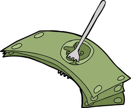 Isolated cartoon of fork stuck in dollar bills