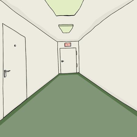 De hand getekende cartoon gang achtergrond met groene vloerbedekking Stock Illustratie