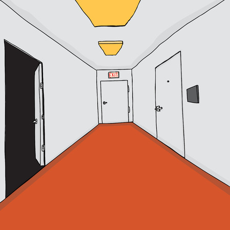 hallway: Cartoon professional office building hallway with doorways