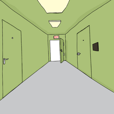 hallway: Cartoon of bright exit doorway in hallway
