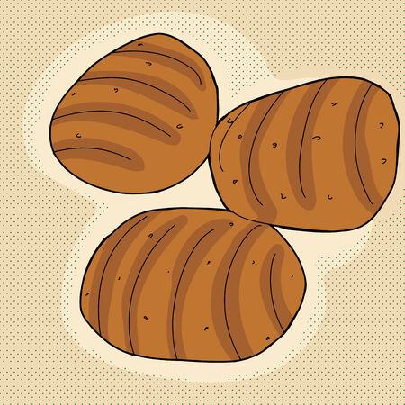 Set van drie broodjes op bruine achtergrond