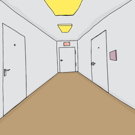 hallway: Hand drawn cartoon hallway with closed doors