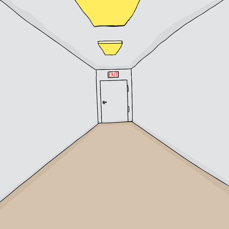 hallway: Hand drawn cartoon hallway background with single exit Illustration