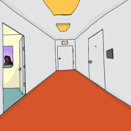 Administrative assistant in teller window through hallway door Vector