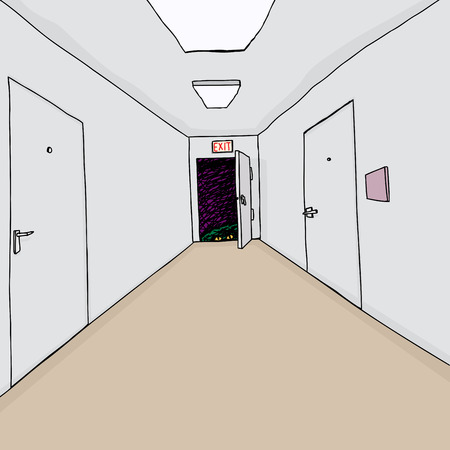 Hand drawn cartoon hallway background with scary monster Vector