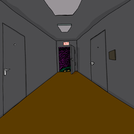 paranoia: Scary green monster at end of dark hallway Illustration