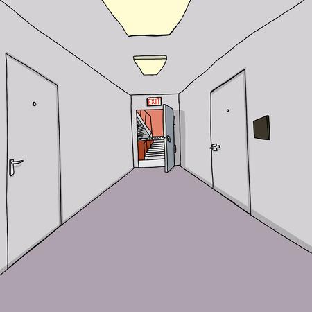 Exit door open to stairwell in office hallway Stock Illustratie