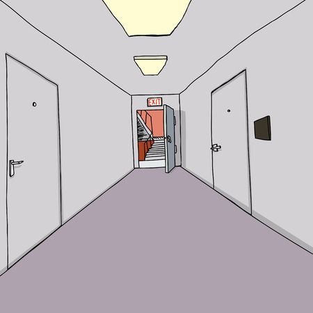 hallway: Exit door open to stairwell in office hallway Illustration