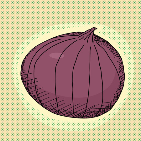 Single red onion bulb on green background