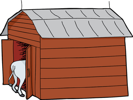 tin: Cow rear end and wooden barn with tin roof Illustration