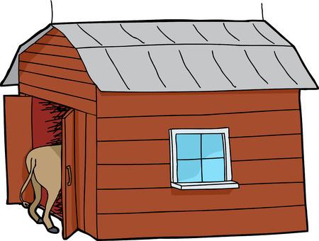 rear end: Rear end of horse inside little barn Illustration