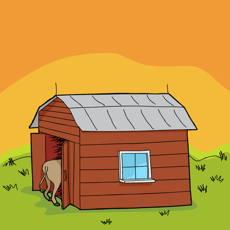 rural scene: Rural scene with barn and animal rear end