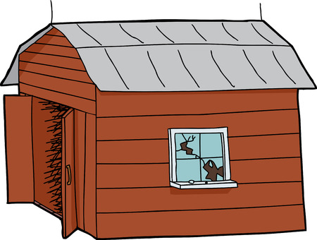 Isolated cartoon wooden barn with broken window