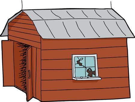 old barn: Isolato fumetto fienile in legno con finestra rotta