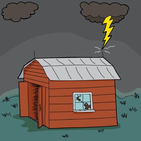 old barn: Lightening colpisce vecchio fienile abbandonato durante la tempesta