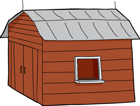 Cartoon concession stand in barn over white background Illustration