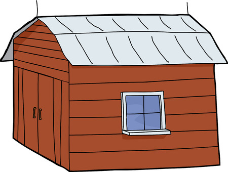 Cartoon red barn with closed doors and tin roof 일러스트