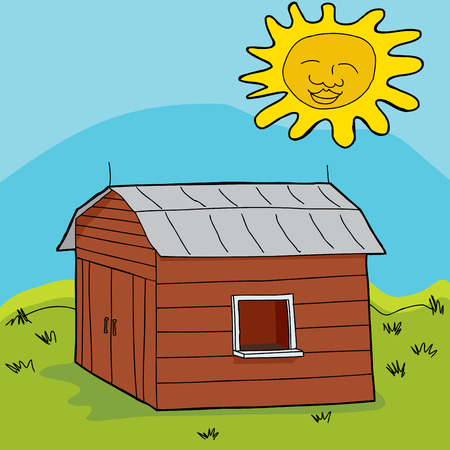 Smiling sun over barn with open window and counter
