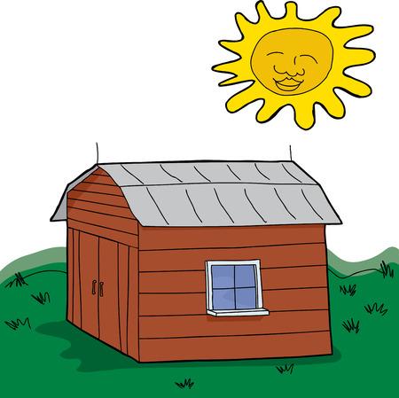 Sun sobre el pasto verde con granero cerrado Foto de archivo - 30100892