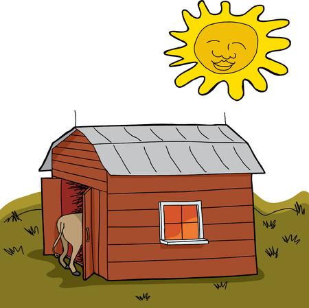 Sun que brilla sobre animales calientes en el granero durante la sequía Foto de archivo - 30100893