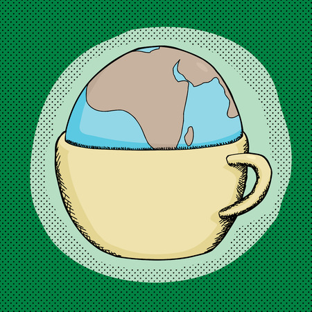 Cartoon of globe inside a cup over green