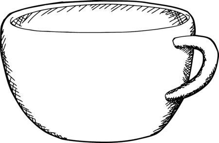 hand drawn cartoon: Dibujo animado hecho a mano de la taza de la bebida
