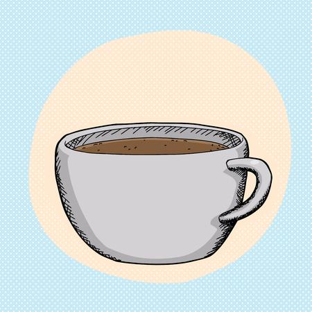 hand drawn cartoon: Mano dibujo animado hecho de la taza de caf� llena