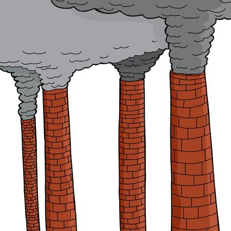 smoke stack: Set di camini isolati vomitando fumo grigio Vettoriali