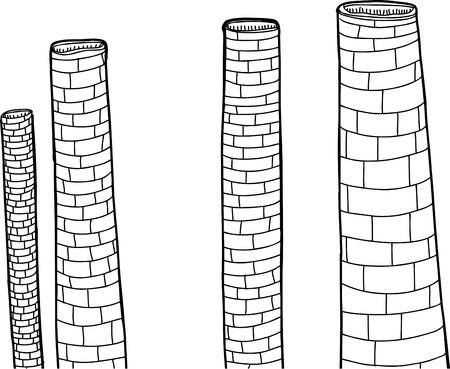 smoke stack: Isolati disegnati a mano ciminiere della fabbrica in bianco e nero