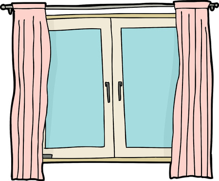 casement: Blank casement window cartoon with pink curtains Illustration