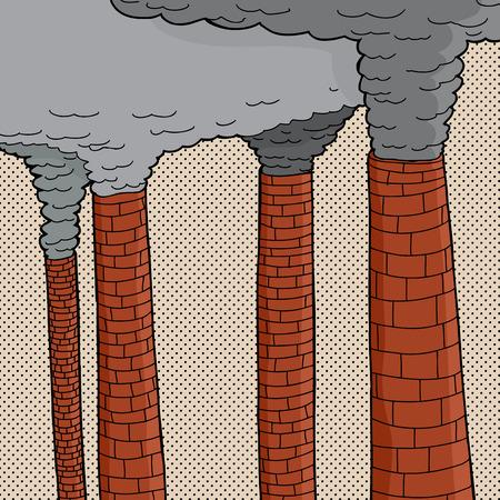 Four old brick cartoon factory smokestacks polluting