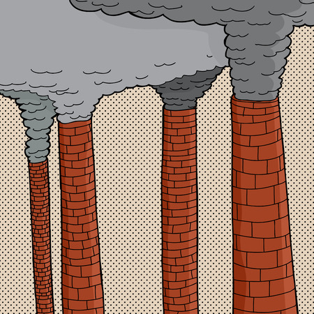 Four old brick cartoon factory smokestacks polluting