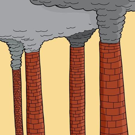 smoke stack: Pennacchi di fumo che fuoriescono dai grandi camini Vettoriali