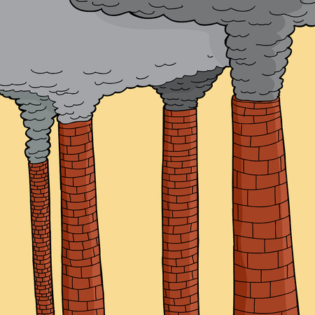 spewing: Plumes of smoke spewing from large chimneys Illustration