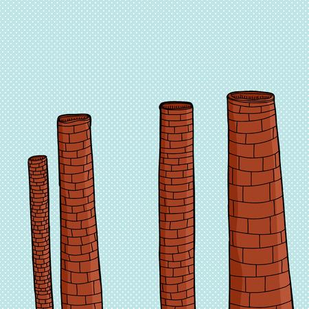 smoke stack: Ciminiere dormienti dei cartoni animati su sfondo blu mezzitoni