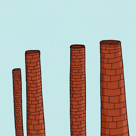 Dormant cartoon smokestacks over blue halftone background