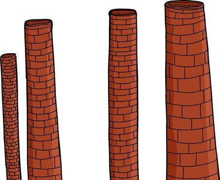 smoke stack: Vecchie ciminiere delle fabbriche di mattoni su sfondo isolato