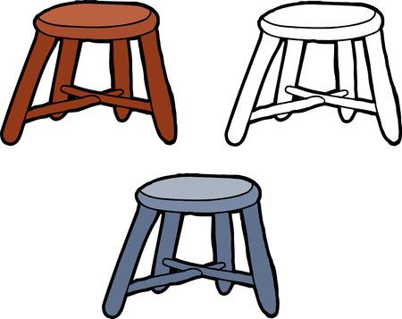 Series of little wooden seats over white background Ilustração