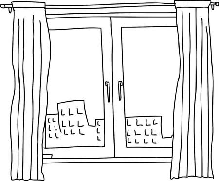 アパートの建物と観音開きの窓の黒のアウトライン