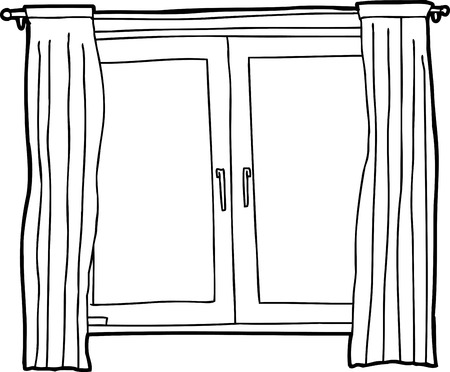 casement: Black outline cartoon of casement windows with curtains
