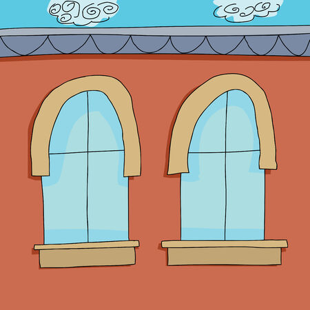 Cartoon background of two closed apartment windows