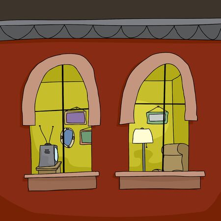apartment: Cartoon background of inside view of apartment at night