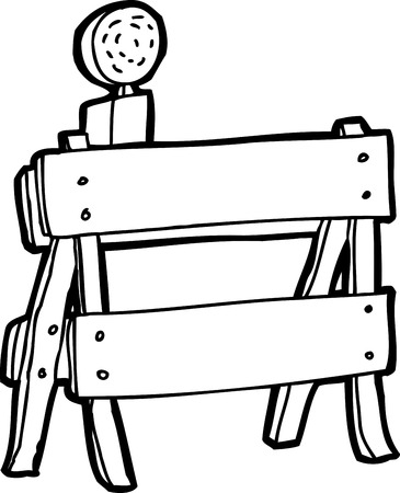 sawhorse: Black and white outline cartoon construction barrier