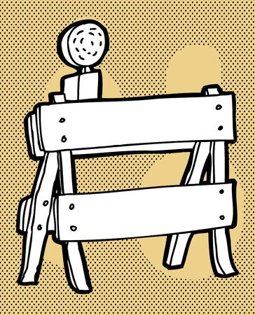 sawhorse: Black and white hand drawn traffic barricade on halftone background