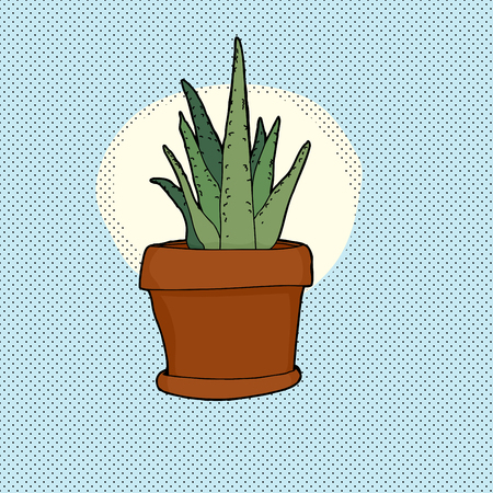 Hand drawn aloe plant in pot over blue background