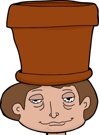 innuendo: High male teenager with empty pot on head Illustration